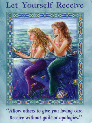 Let Yourself Receive Card Extended Description - Mermaids and Dolphins Oracle Cards by Doreen Virtue