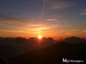 Maui - The Importance of Solitary Reflection - sunrise on crater with logo